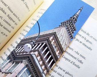 Mole Antonelliana Bookmark - Turin, Italy travel photo, European architecture, gift under 5 for reader, book accessory, 19th century