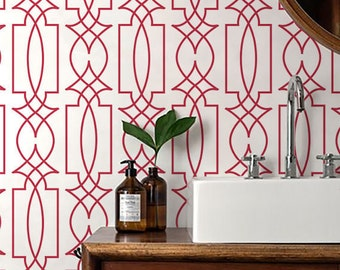 Self adhesive vinyl temporary removable wallpaper, wall decal - Trellis wallpaper pattern print - 104