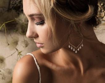 Moonstone Chandelier Earrings, Moonstone Hoops, Lotus Petal Earrings, Rainbow Moonstone Chandelier