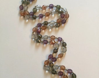 Vintage 1928 Necklace with Multicolored, Faceted Beads ~ Spring Fashion Jewelry!