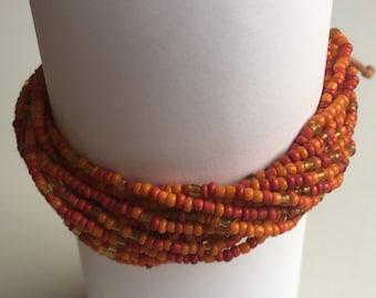 Orange Adjustable Bead Bracelet