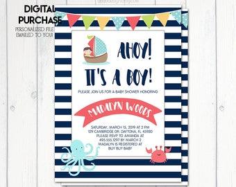 Nautical Baby Shower Invitation, Ahoy! Its A Boy! Invitation, Baby Shower Boy, Blue Stripes, Patriotic, Octopus, Crab, Printable No. 823