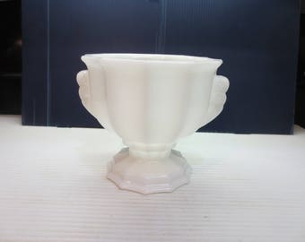 Vintage White Milk Glass Vase No MJ-46-J 2537 E O Brody Co Cleveland Ohio