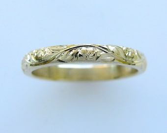 Hand Engraved Vine and Leaf with Flower 3mm 14k Yellow Gold Wedding Band and Anniversary Band