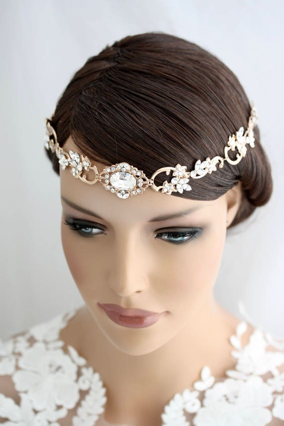 Halo Headpiece Rose Gold Wedding Forehead Band for Brides