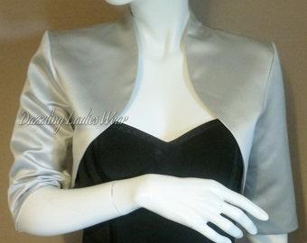 Light Silver/Grey Satin Bolero / Shrug / Cropped Jacket Fully Lined - UK 4-26/US 1-22 3/4 Sleeves - Formal/Wedding/Bridal