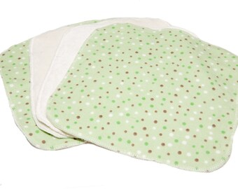 Green Dots - Set of 4 wipes - flannel and OBV - SOFT - 8x8 size