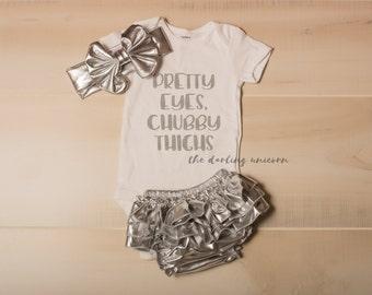 pretty eyes chubby thighs infant girl bodysuit, baby girl bodysuit, baby girl outfit, infant outfit, chubby baby, chunky thighs, pretty eyes