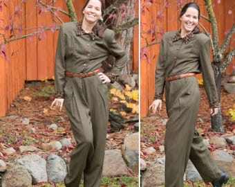 Vintage 80s army green jumpsuit w/ leopard print collar / Size S
