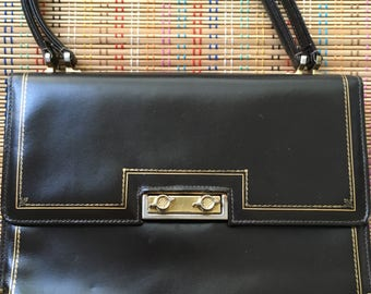 Vintage Italian Leather Purse:  Beautiful Brown with Gilt Details and Mirror Surprise!