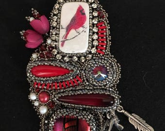 Cardinals in the Snow Pendant