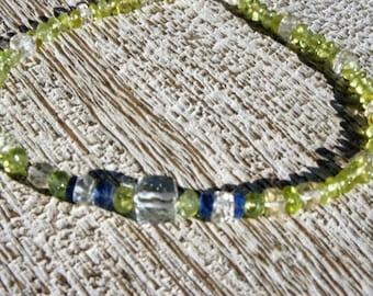 MULTI GEMSTONE BRACELET: Light Green Quartz, Kyanite, peridot, and citrine. Aquatic hues/ blue & green/natural/ organic/ice/Boho/ sundance