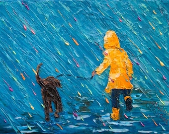 "Original Painting Child Dog Walking in  Rain ""Puddle Jumping With My Best Friend"", 6"" x 8"" (15cm x 20cm) Palette Knife Oil on Canvas"