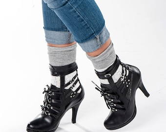 Womens Fashion/Black Boots /handmade leather High Heel shoes/Ankle Boots/Black Booties/Fringe shoes/