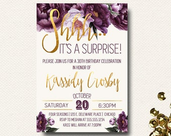 Floral Surprise Party Birthday Invitation Invite | Fall Floral | Purple Gold Eggplant