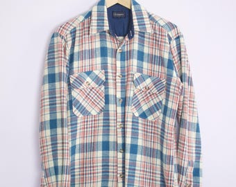 Vintage 1970's Blue + Red Wool Plaid Button Down Shirt S/M