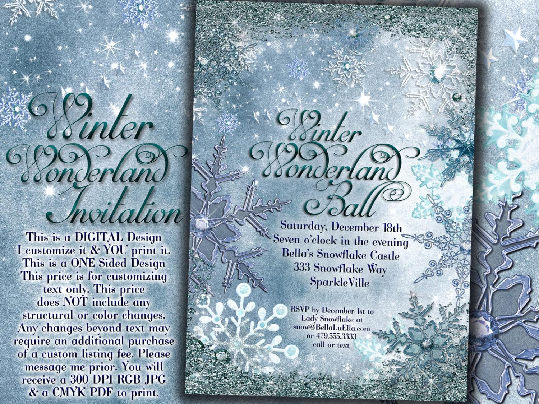 Frozen Winter Wonderland Party Winter Snowflake Invitation