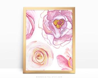 SALE -  Watercolor Flower Collage, Watercolor Nature, Baby Girl Nursery, Pastel Color, Burgundy Pink Coral Orange, Kitchen Decor, Dorm