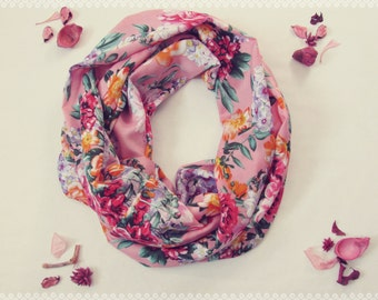 Floral Infinity Scarf in Spring Blossoms - Spring Lightweight Scarf, Floral Loop Scarf, Floral Eternity Scarf, Floral Print Infinity Scarf