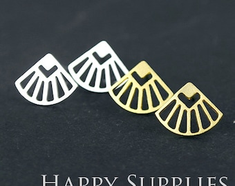 Nickel Free - High Quality Sector Geometry Dual-used Golden/Silver/Rose Gold Brass Earring Post Finding with Ear Studs Back Stopper (ZEN064)