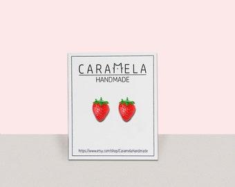 Strawberry Stud Earrings / Fruit earrings / summer stud earrings / Gift For Her
