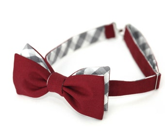 Mens bow tie Maroon and grey plaid Cotton men's self tied Bow Tie Untied Bowtie Boom Bow CR316