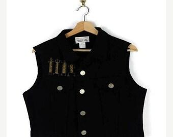 ON SALE Vintage Black Denim Vest /Sleeveless from 90's