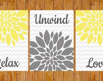 Floral Flower Burst Yellow Grey Set of 3 Wall Decor Bedroom Bathroom Relax Unwind Love 5x7 jpg files DIY Printable Instant Download (112)