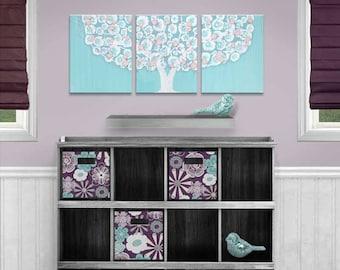 Nursery Wall Art Tree Painting, Canvas Triptych Art for Baby Girl, Pink and Aqua Nursery Art - 35x14
