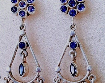 Vintage Iolite Sterling Silver Chandelier Earrings