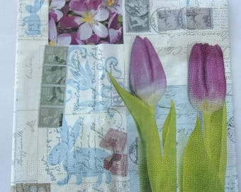 paper tulips mail stamps No. 20 napkins   3541