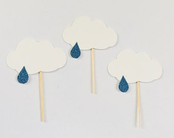 Little Rain Cloud Cupcake Toppers - Set of 12