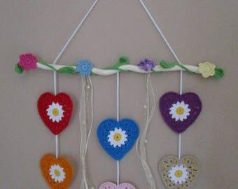 Mobile 6 crochet hearts