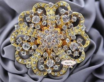 Rhinestone Brooch Embellishment Flatback Wedding Brooch Bouquet Cake Hair Comb Shoe Clip Supply RD247GOLD