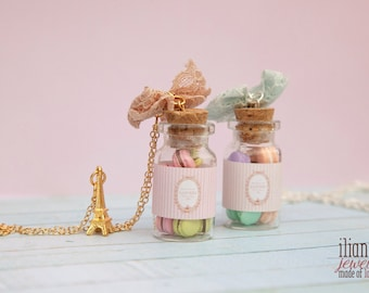 Laduree Macarons Bottle / Laduree Inspired Jewelry / French Macarons pendant / Bottle Charm Pendant / Maison Laduree / Miniature Food /