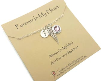 Memorial Jewelry, Sympathy Gift with Birthstone, Memorial Necklace, Bereavement Gift, Personalized with Angel Wing, Forever In My Heart