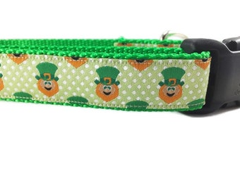 St Patricks Dog Collar, Leprechauns, 1 inch wide, adjustable, quick release, plastic buckle, metal buckle, chain, martingale, hybrid, nylon