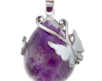 Silver plated - Amethyst Butterfly drop pendant