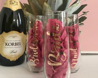 Bride Bridesmaid Maid of Honor Glass Champagne Flute