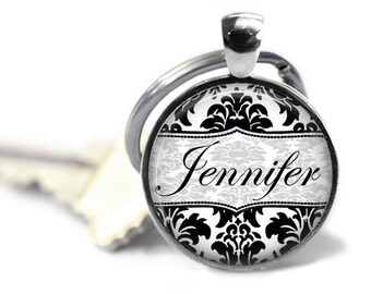 Damask Personalized Keychain, Custom Keychain with Name, Teachers Gift