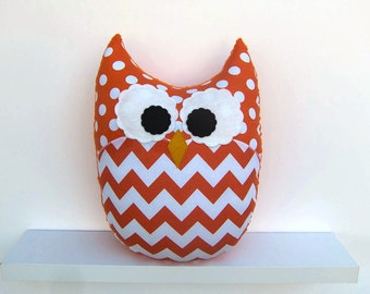 Large Chevron Owl Pillow Orange Zig Zag Nursery Decor Ready to Ship