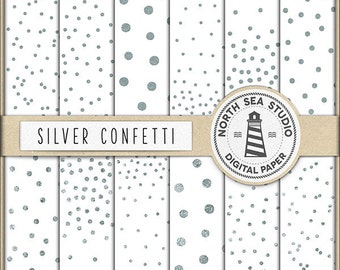 BUY 5 GET 3 FREE | Silver Confetti Digital Paper Pack | Scrapbook Paper | Printable Backgrounds | 12 Jpg, 300dpi Files | BUY5FOR8