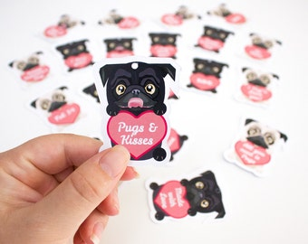 Printable Pug Valentines Day Gift Tags / Dog / Candy Hearts / INSTANT DOWNLOAD - by Kooee Papercraft