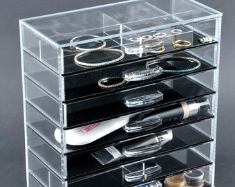 The GlamoureBox® Clear Makeup Cube Organizer Storage Case 7-Drawer (A7M)
