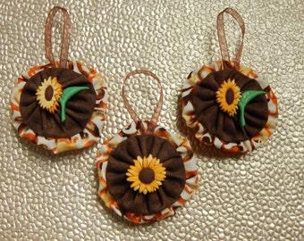 Autumn Sunflower Ornament Set - 3 pc set