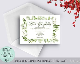 Printable holiday party invitation pdf TEMPLATE, Christmas invitation template, editable pdf template, greenery invitation, watercolor C046