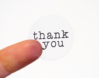 Thank You Labels, Transparent Thank You Stickers, Printable Stickers, Typewriter (#226-C)