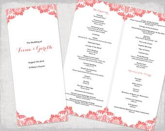 Catholic Wedding Program Template Antique Lace DIY - Long wedding program template