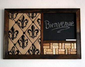 Wine Corkboard, Chalkboard, & Burlap Fleur de Lis French Memo Board Wall Organizer