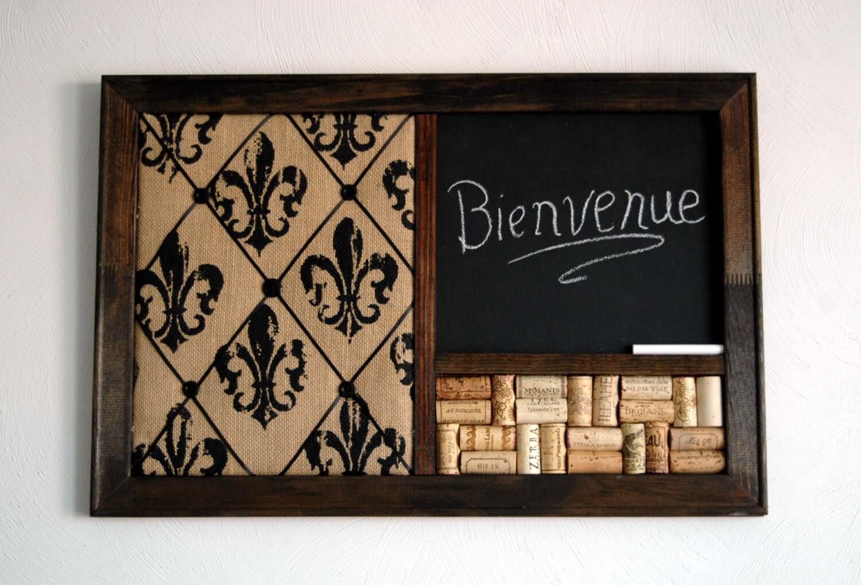 Wine Corkboard Chalkboard & Burlap Fleur de Lis French Memo